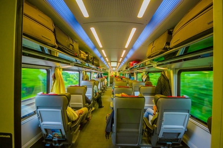 seating area: Vienna, Austria - 11 August, 2015: Inside economy class seating area on the train,  classy comfortable interior.