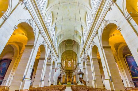 Paris, France June 1, 2015: Inside Church of Notre Dame in Versailles, beautiful arches and interior.