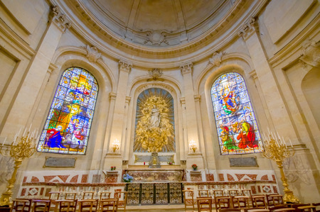 neo classical: Paris, France June 1, 2015: Inside Church of Notre Dame in Versailles, beautiful arches and interior.