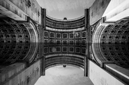 triumphe: Paris, France - June 1, 2015: Great view from underneath Arch of Triumph showing artistic pattern and details, black white edition.