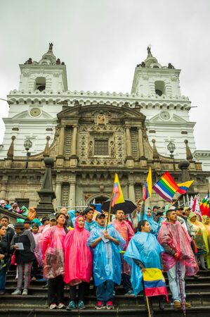 protests: Quito, Ecuador - August 27, 2015: Large crowd gathered for anti government protests on city square.