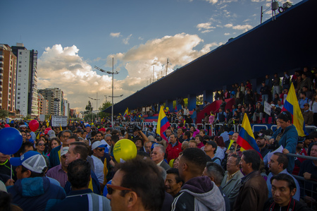 riots: Quito, Ecuador - April 7, 2016: Group of people, police and journalists during anti government protests in Shyris Avenue.
