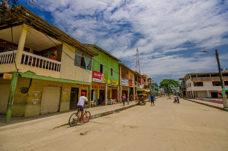 guayaquil: Muisne, Ecuador - March 16, 2016: Buildings in the center of the city, main street, in the coast of Ecuador. Editorial