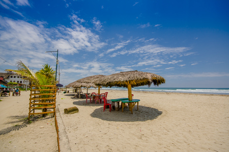 beach front: Muisne, Ecuador - March 16, 2016: A coastal town in the southwest of the province of Esmeraldas in northwestern Ecuador. Beach front