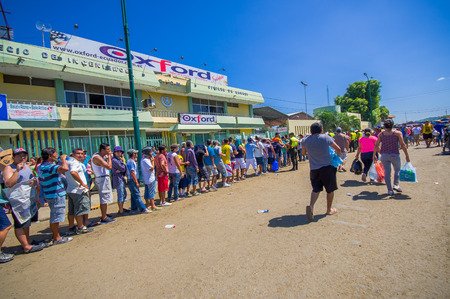 displaced: Portoviejo, Ecuador - April, 18, 2016: People in line to get some water after 7.8 earthquake Editorial