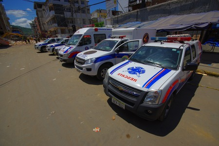 fissure: Portoviejo, Ecuador - April, 18, 2016: Rescue team vehicles making recovery efforts after 7.8 earthquake