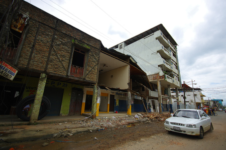 two story: Chone, Ecuador - April, 18, 2016: Two story house collapsed wall after 7.8 earthquake.