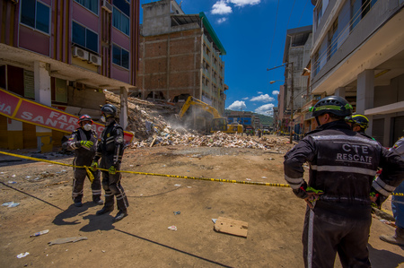 efforts: Portoviejo, Ecuador - April, 18, 2016: Rescue team making recovery efforts after 7.8 earthquake.