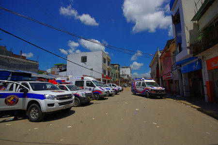 efforts: Portoviejo, Ecuador - April, 18, 2016: Rescue team vehicles making recovery efforts after 7.8 earthquake