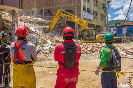 fissure: Portoviejo, Ecuador - April, 18, 2016: Rescue team making recovery efforts after 7.8 earthquake.