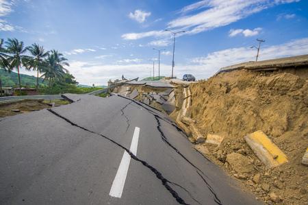 earthquake crack: Portoviejo, Ecuador - April, 18, 2016: Cracked road after 7.8 earthquake.