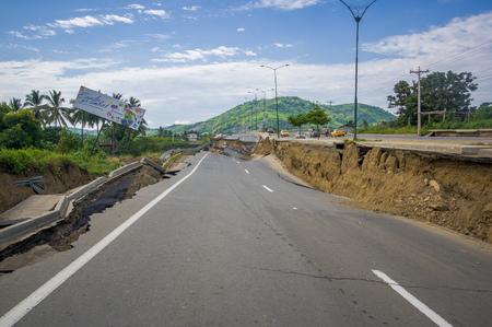 Portoviejo, Ecuador - April, 18, 2016: Cracked road after 7.8 earthquake.