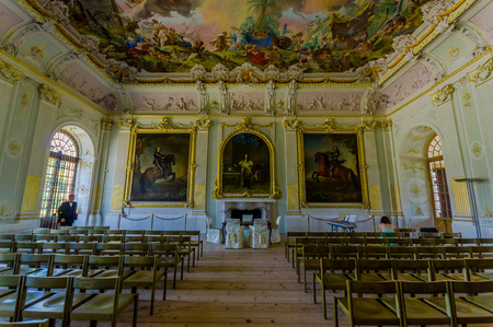 queen bed: Schleissheim, Germany - July 30, 2015: Inside main palace building, rooms with incredible paintings, decorations, details and ornaments in true european traditional architecture.