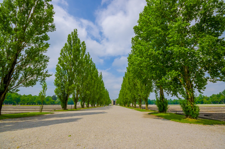 sachsenhausen: Dachau, Germany - July 30, 2015: Long gravel road with beautiful tall green trees on both sides leading up to catholic roman monument in honour of the fallen.