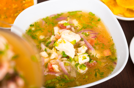 ecuadorian: Little pieces of fish used for ecuadorian ceviche, red onions and coriander on a white dish,