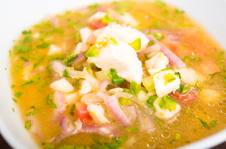 ecuadorian: Close up of traditional and fresh fish ceviche, ecuadorian style very colored Stock Photo