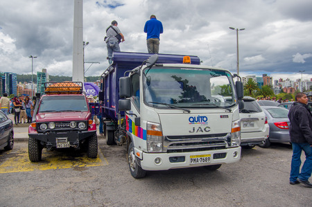 fema: Quito, Ecuador - April,17, 2016: Truck carrying disaster relief food , clothes, medicine and water donations for earthquake survivors in the coast.