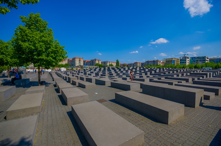 holocaust: BERLIN, GERMANY - JUNE 06, 2015: Sad monument on Berlin to  the murdered jews of europe, also the Holocaust Memorial. Editorial