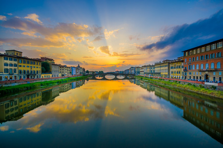 trinita: FLORENCE, ITALY - JUNE 12, 2015: Ponte Santa Trinita or Holy Trinity Bridge in Florence, oldest bridge around the world.
