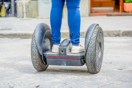 electronic balance: FLORENCE, ITALY - JUNE 12, 2015: Self Balance electronic device calling hoverboard is the new attraction on Florence Italy. Way to transporting more fast.