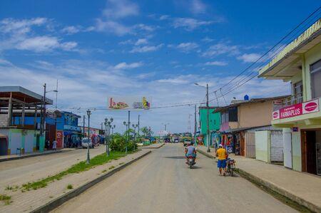 ecuadorian: Muisne, Ecuador - March 16, 2016: Downtown Muisne city, small town located in the northern Ecuadorian coastline.