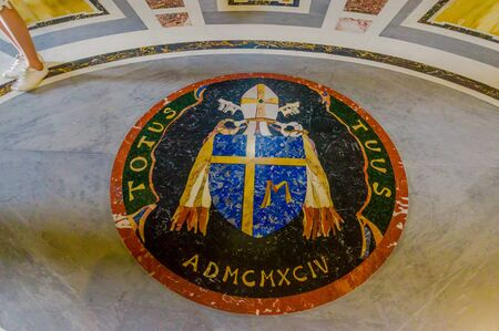 basilica of saint peter: VATICAN, ITALY - JUNE 13, 2015: Floor seal at Vatican Basilica, Saint Peter, inside view. Editorial