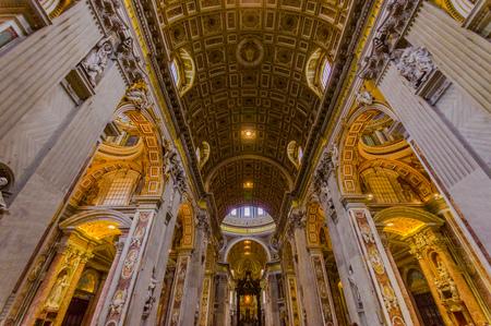 sain: VATICAN, ITALY - JUNE 13, 2015: Sain Peter church in Vatican country, main hall roof inside the church. Beautiful