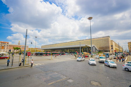 lugagge: ROME, ITALY - JUNE 13, 2015: Modern bus station at Rome, people walking around and carry their lugagge, nice architecture Editorial