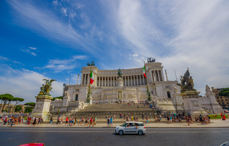 historic place: ROME, ITALY - JUNE 13, 2015: Vittorio Emanuele II monument or Altar of motherland is an historic place to visit in Rome. Editorial