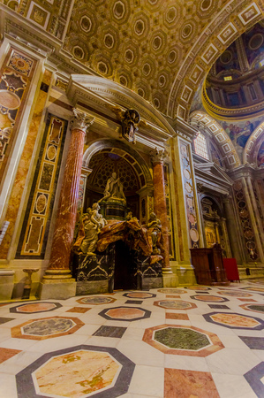 st  peter's basilica pope: VATICAN, ITALY - JUNE 13, 2015: Sculture inside Saint Peter Basilica on Vatican city. Beautiful architecture and message. Editorial