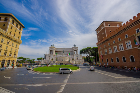 roman pillar: ROME, ITALY - JUNE 13, 2015: Vittorio Emanuele II monument or Altar of motherland nice view with a little square in front of this. Editorial