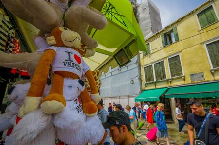 the merchant of venice: VENICE, ITALY - JUNE 18, 2015: Traditional souvenir of Venice, I love Venice in a nice stuffed animals.