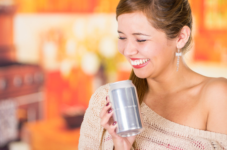 pretty brunette and an blank soda on a restaurant Stock Photo
