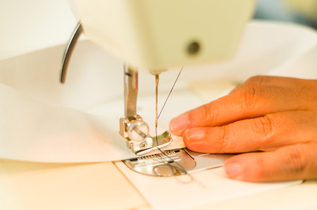 Dressmaker Job Hands Sewing With A Sewing Machine White Fabric Interesting How To Thread Dressmaker Sewing Machine