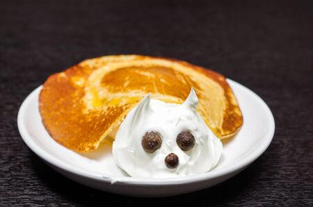 aliments droles: Funny looking turtle portrait made from pancake and cream with chocolate eyes, lying on white plate .