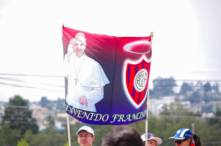 almagro: QUITO, ECUADOR - JULY 7, 2015: Funny poster of pope Francisco and San Lorenzo flag of soccer club. Pope is a huge fan of this club.