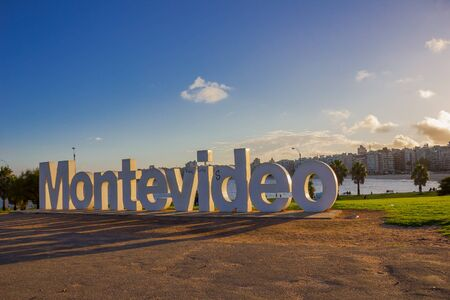 montevideo: MONTEVIDEO, URUGUAY - MAY 04, 2016: montevideo written in letters with nice sunset light.