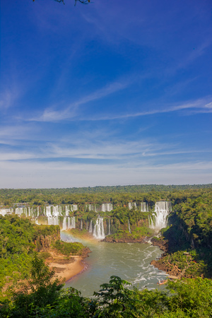 lofty: IGUAZU, BRAZIL - MAY 14, 2016: the iguazu falls are located between the brazilian state of parana and the argentian state of misiones. Editorial