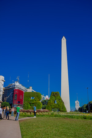 BUENOS AIRES, ARGENTINA - MAY 02, 2016: the obelisk of buenos aires is a traditional and historic building located in plaza de la republica, in the interseccion of 9 de julio and corrientes avenues .