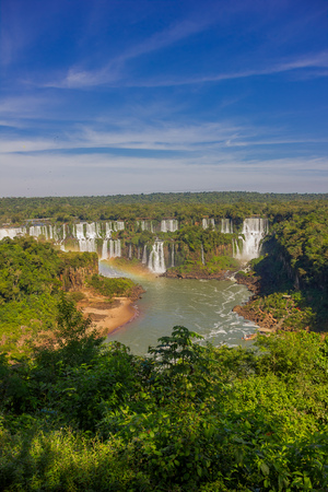 IGUAZU, BRAZIL - MAY 14, 2016: the iguazu river rises in the brazilian side however most of the falls are located in the argentinian side.