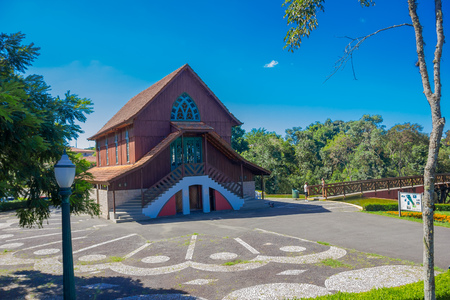 alegre: CURITIBA ,BRAZIL - MAY 12, 2016: chapel located in the middle of the german forest located in vista alegre curitiba.
