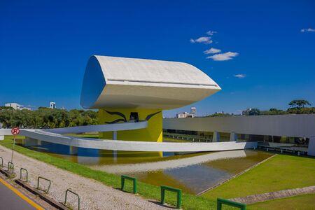 oscar niemeyer: CURITIBA ,BRAZIL - MAY 12, 2016: the oscar niemeyer museum focused in architecture, design and visual arts.