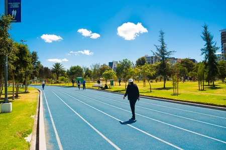 inner city: Blue colored athletic running track located in inner city park, trees sorrounding and beautiful sunny day. Stock Photo