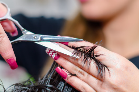 Metal scissors helping a hairstylist to make a nice haircut, close up. Stock Photo
