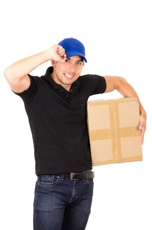 carrying box: happy friendly confident delivery man carrying box holding fist up isolated on white
