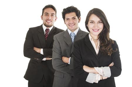 half body: three executives posing with arms crossed side view half body length isolated on white Stock Photo