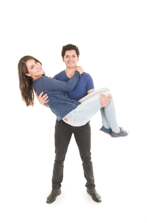 carrying girl: cute couple hugging boy carrying girl in front isolated on white