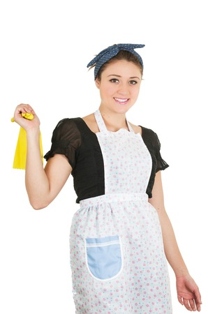 housewife gloves: Young pretty happy housewife taking gloves off isolated on white Stock Photo