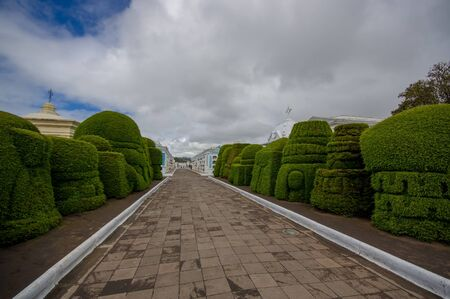 topiary: TULCAN, ECUADOR - JULY 3, 2016: grey cobble path with some topiary sculptures on the sides. Editorial