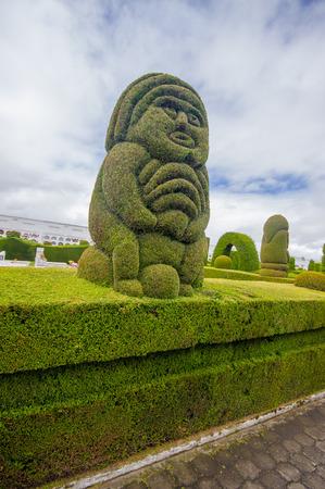 TULCAN, ECUADOR - JULY 3, 2016: incain sculpture in the garden of the cemetery. Editorial